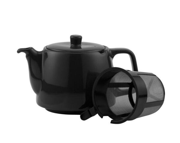 Porzellanteekanne schwarz mit Teesieb für 4l Modell-0